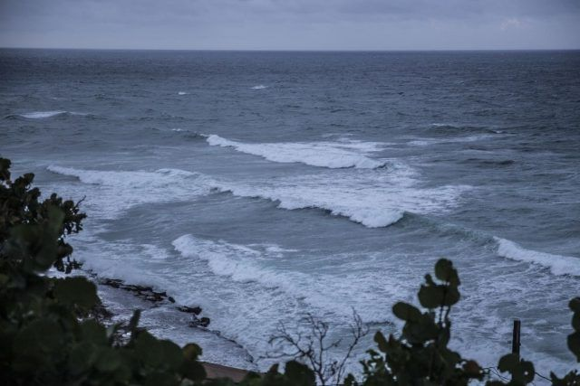 Hurricane Maria causing strong winds and waves in Puerto Rico waters.
