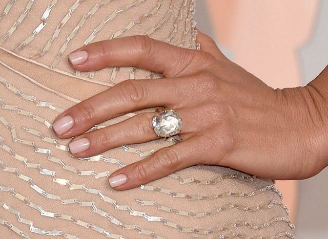 Jennifer Aniston's engagement ring and manicure seen up close.