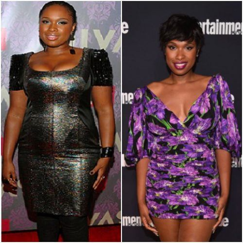 A side by side comparison of Jennifer Hudson before and after her weight loss.