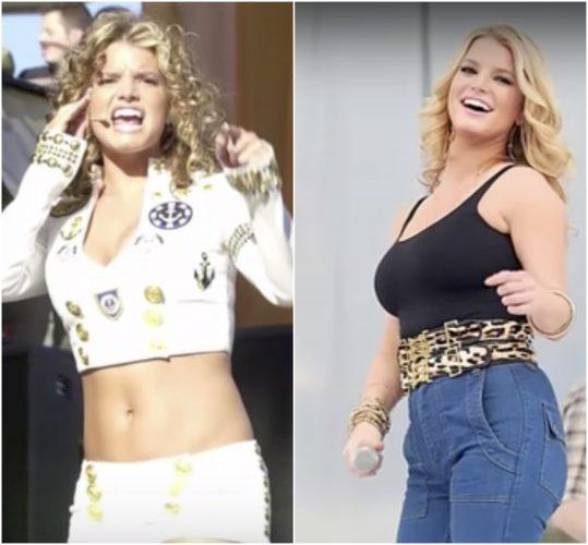 A young Jessica Simpson performing in a two-peice outfit and Jessica Simpson during her weight gain.
