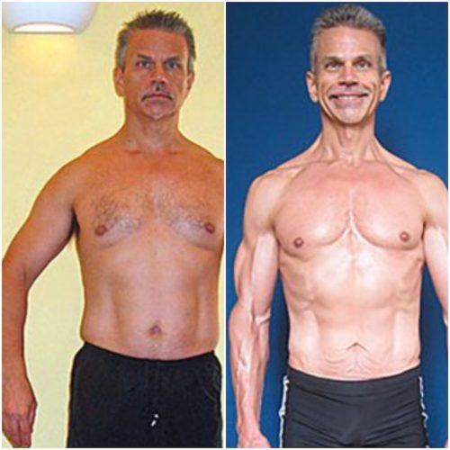 A side by side comparison of John Berardi before and after getting in shape