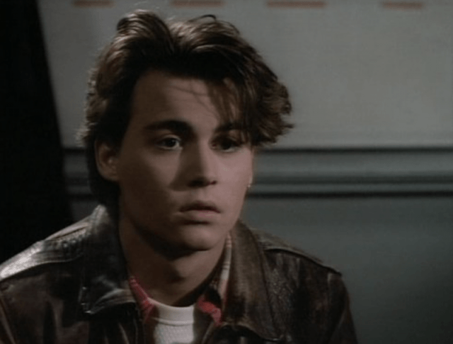 A young Johnny Depp stares ahead in '21 Jump Street'.