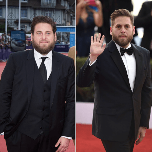 A side-by-side comparison of Jonah Hills weight loss.