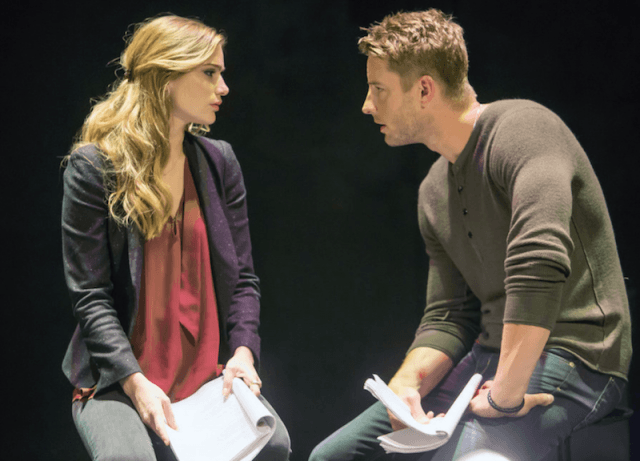 Kevin and Sophia sit holding scrips behind a dark background.