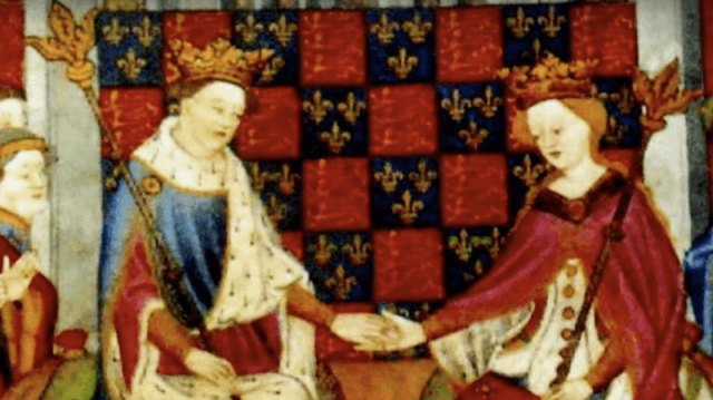 King Henry VI and Margaret of Anjou holding hands in front of a court.