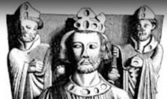 An illustration artwork of King John of England wearing a crown.