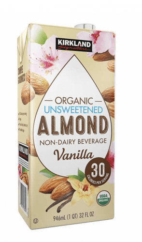 A box of organic unsweetened almond milk.