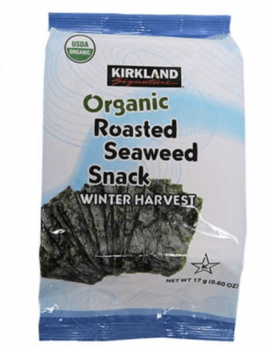 A pack of Kirkland Organic Roasted Seaweed Snack.