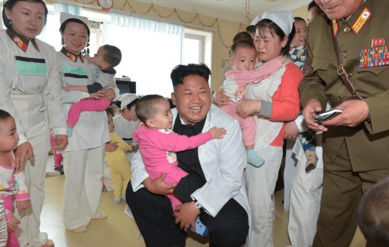 Kim Jong-Un at an orphanage