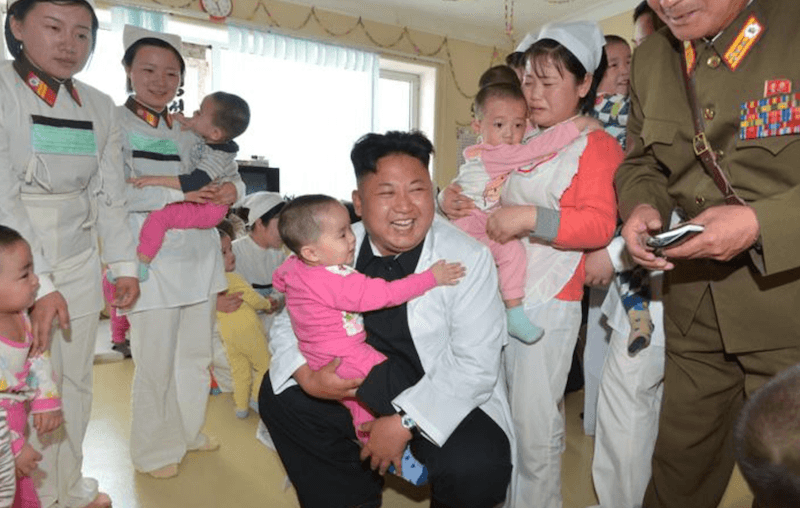 Kim Jong-Un at an orphanage