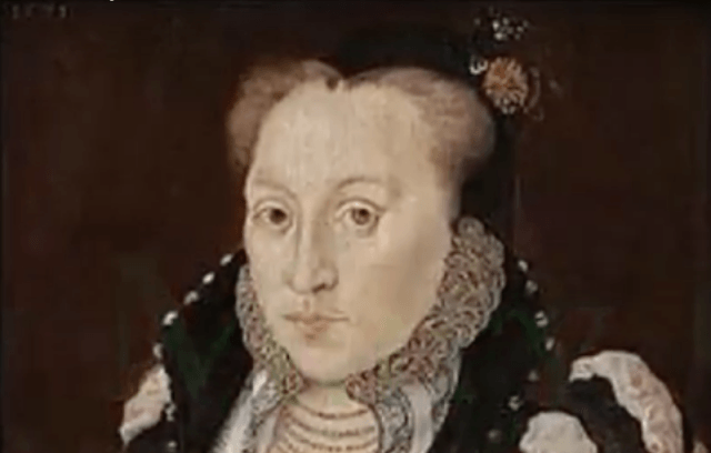A portrait of Lady Mary Grey of her sitting down and starting straight ahead.