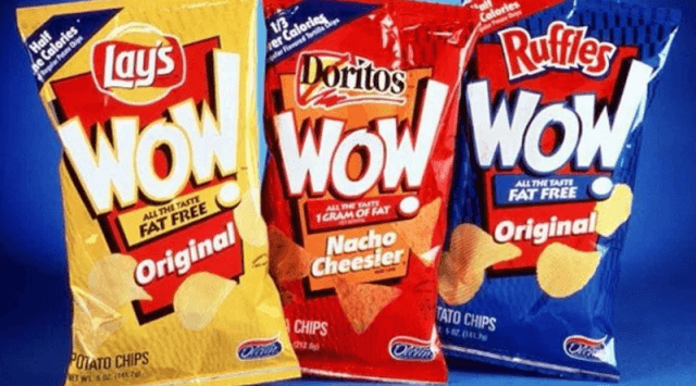 Three packs of Lay's WOW! Chips.