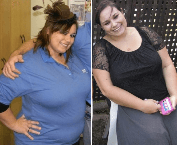 A side by side comparison of Leandie Williams' weight loss journey.