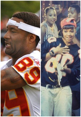 """Andrew Rison during a football game, and Lisa """"Left Eye"""" Lopez wearing a jersey"""