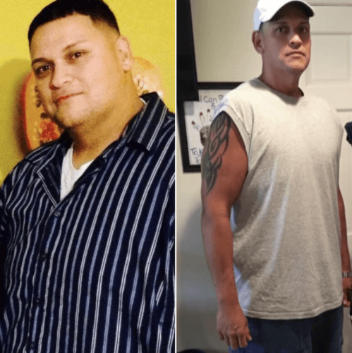 Lou Maldonado side by side comparison picture of weight loss journey.