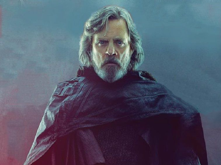 Luke Skywalker stands and looks ahead in an all-black outfit.