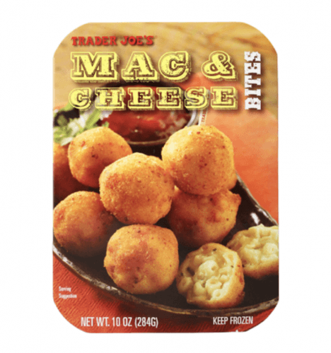 Trader Joe's Mac and Cheese bites package.