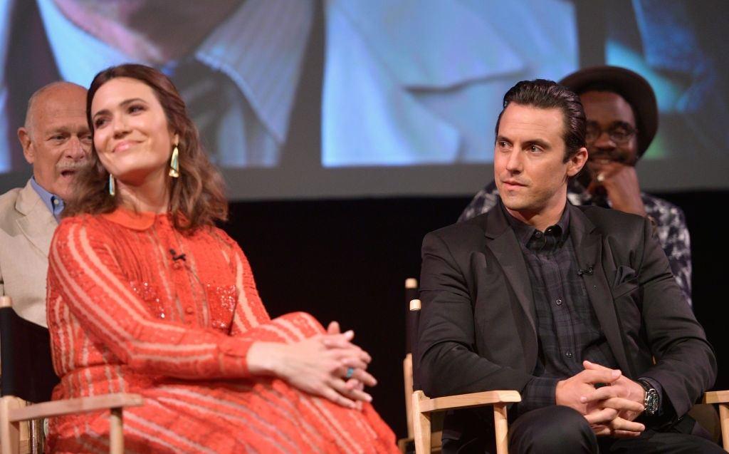 Mandy Moore and Milo Ventimiglia on a panel