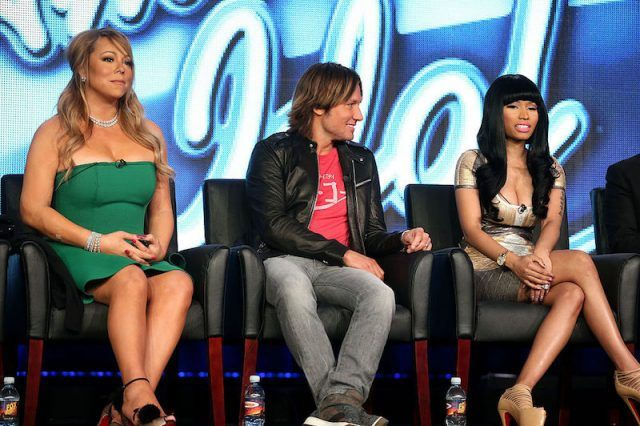 Mariah Carey, Nicki Minaj, and Keith Urban sit together during an American Idol press panel.