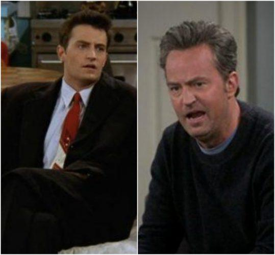 Matthew Perry on 'Friends' and an older Matthew Perry on 'The Odd Couple'.
