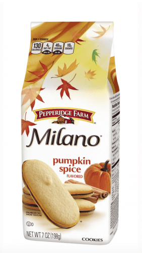 A container of Milano Pumpkin Spice Cookies on a white background.