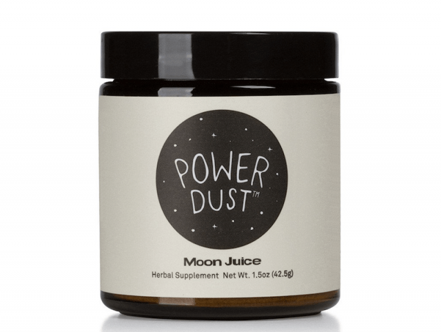 A container of Power Dust Moon Juice Herbal Supplement