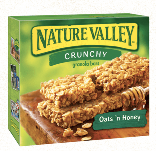 A box of Nature Valley Crunch Granola Bars on a white background.