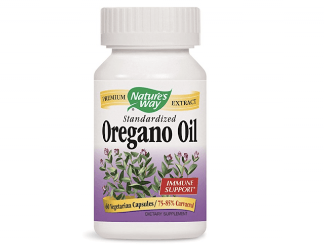 A bottle of Oregano Oil Capsules.
