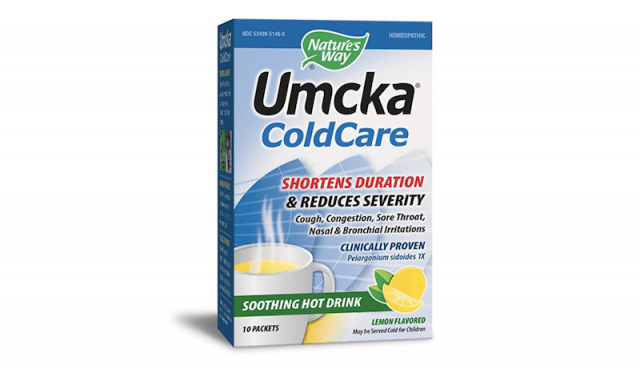 A box of Umcka ColdCare hot drink.