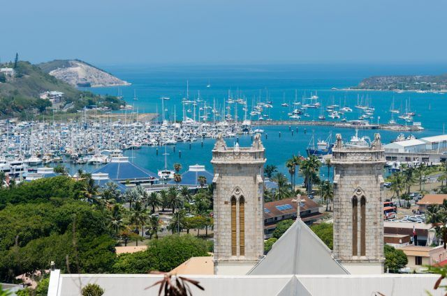 Saint Joseph Cathedral and the Moselle Bay in Noumea, New Caledonia