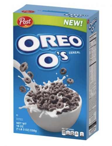 A box of Oreo O's behind a white background.
