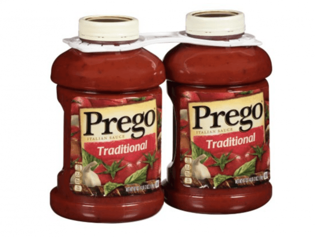 Two containers of Prego tomato sauce.
