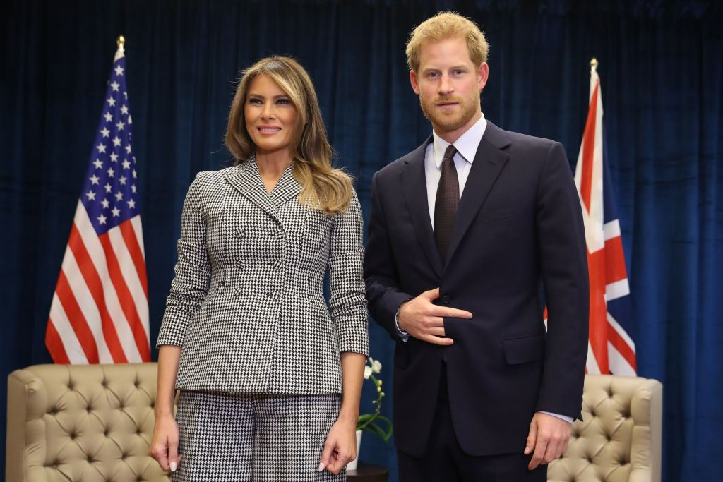 Prince Harry poses with first lady Melania Trump