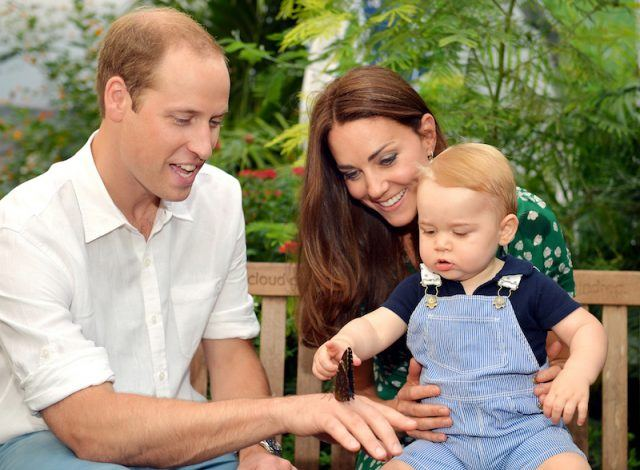 Kate Middleton holds Prince George on her lap while Prince William holds a butterfly on his hand.