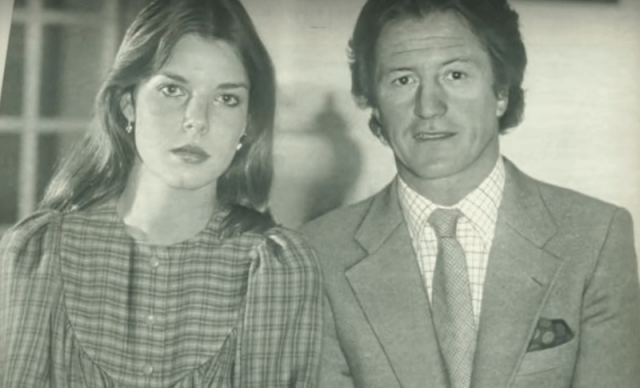 A black and white photograph of Princess Caroline of Monaco and Philippe Junot.
