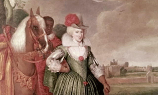 A painting of Queen Anne of Denmark with a horse behind her.