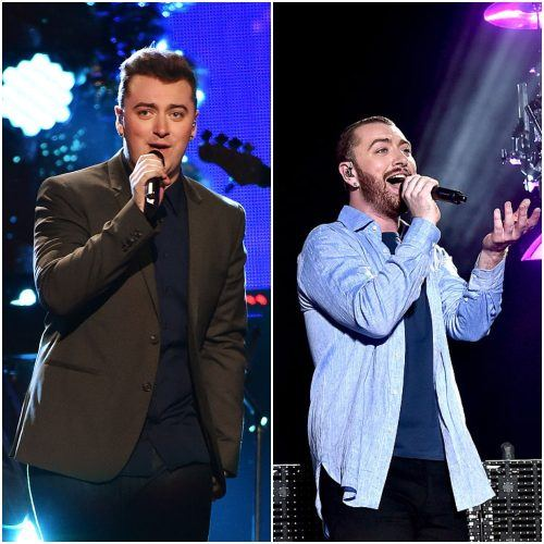 side-by-side comparison of Sam Smith's weight loss.