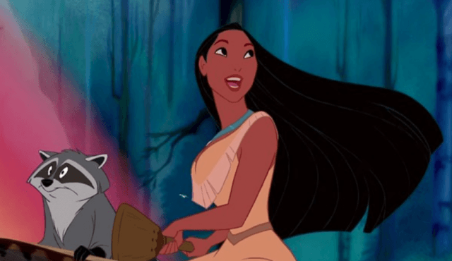 Pocahontas riding in a canoe with her friend raccoon.