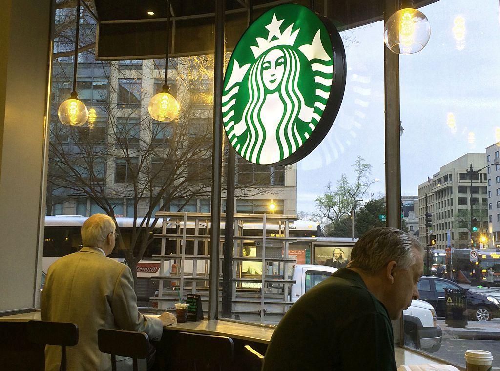 Patrons at Starbucks