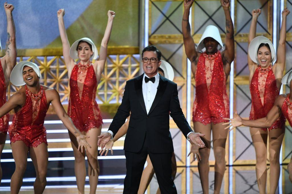 Emmys Host Stephen Colbert dances onstage.
