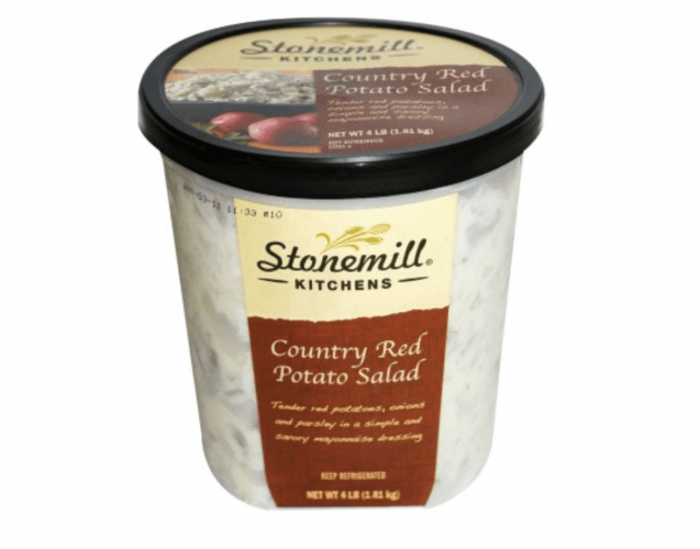 A tub container of County Red Potato Salad.