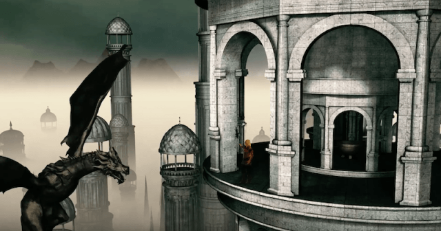 A dragon stands in front of a tower while communicating with a human.