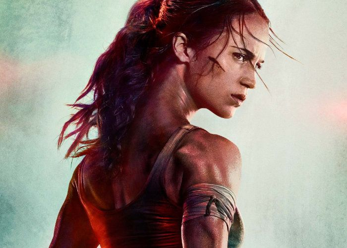 Alicia Vikander's Lara Croft looks over her right shoulder