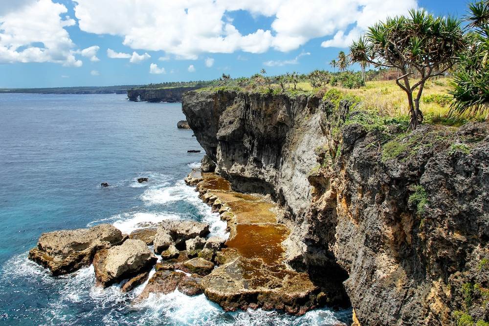 Cliffs on the southern shore of Tongatapu island in Tonga