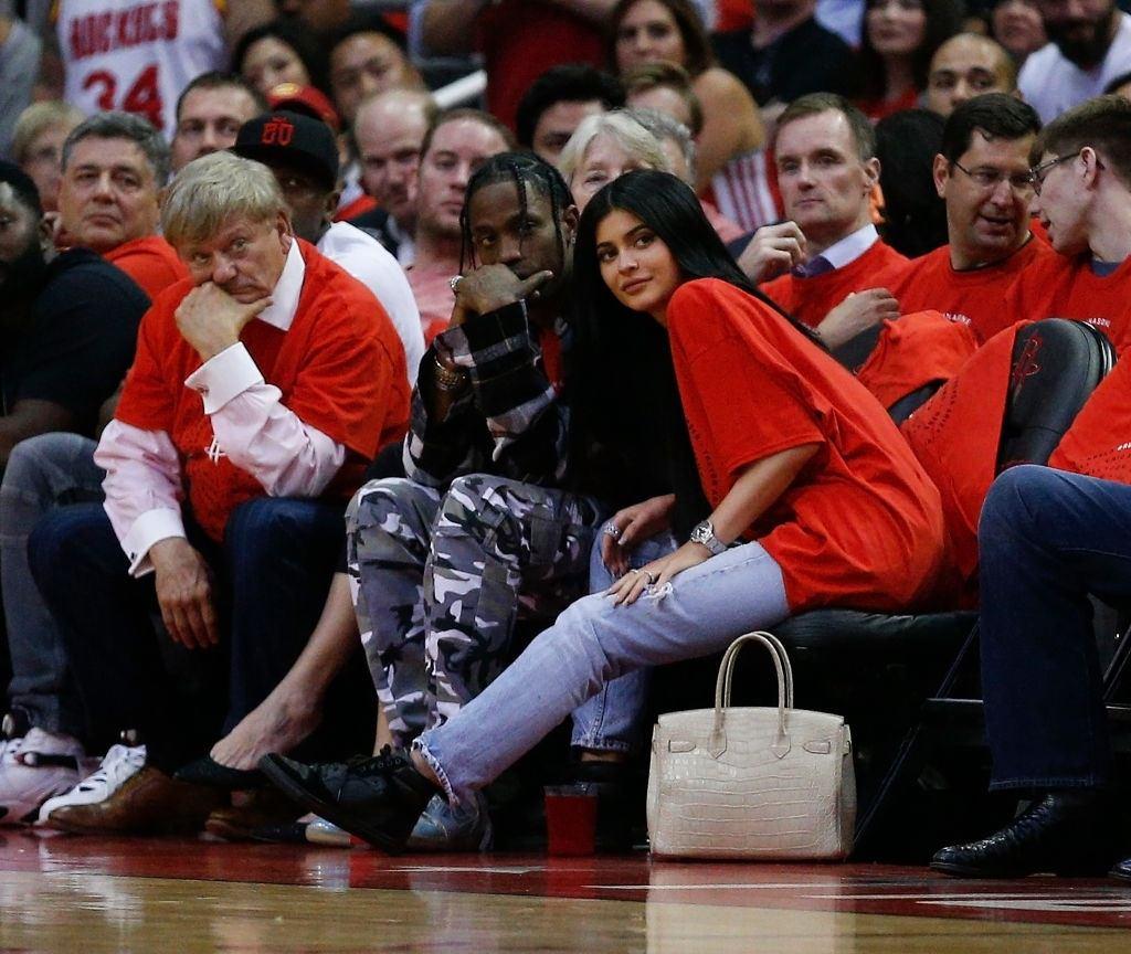 Travis Scott and Kylie Jenner at NBA Playoffs.