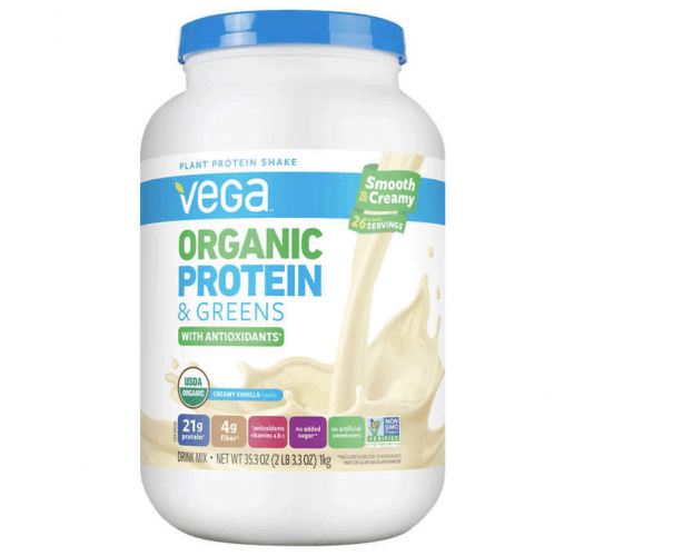 A bottle container of Vega Organic Protein & Greens.