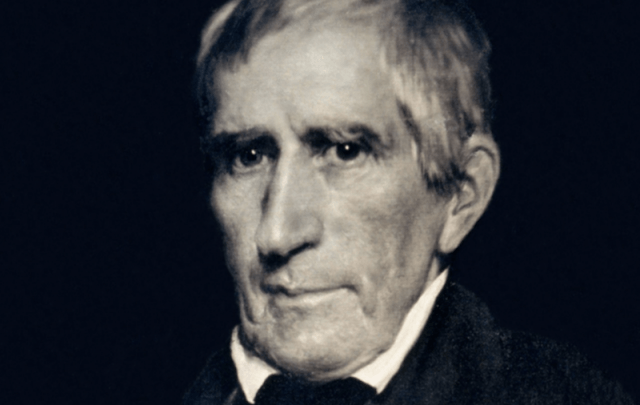 William Henry Harrison in front of a black background staring straight ahead.