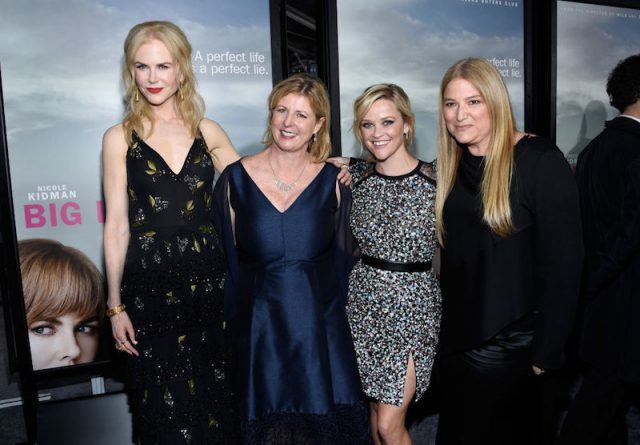 Reese Witherspoon standing with her 'Big Little Lies' co-stars and producers.