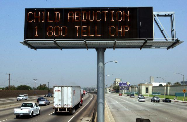 amber alert billboard over highway