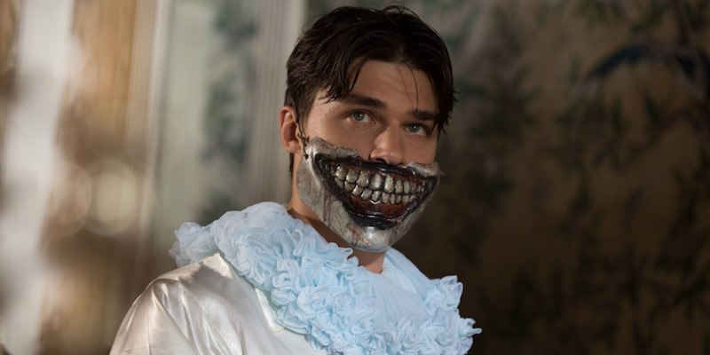 Dandy Mott wearing the bottom half of Twisty the Clown's mask
